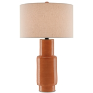 Currey & Company Lighting Janeen Table Lamp Orange 6000-0192 Terracotta/Wood