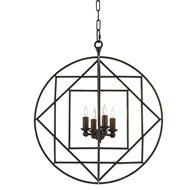 Currey & Company Lighting Chariot Chandelier 9000-0189 Wrought Iron