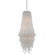 Currey & Company Lighting Shikari Blanc Chandelier 9000-0190 Wrought Iron/Glass Beads