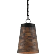 Currey & Company Lighting Porchside Pendant 9000-0195 Wrought Iron/ Wood