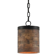Currey & Company Lighting Prairie Pendant 9000-0196 Wrought Iron/ Wood