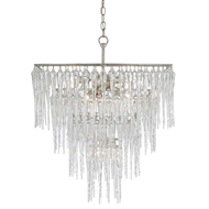 Currey & Company Lighting Icecap Chandelier 9000-0200 Wrought Iron/Crystal