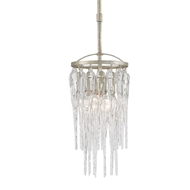 Currey & Company Lighting Icecap Pendant 9000-0201 Wrought Iron/Crystal