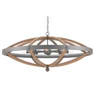 Currey & Company Lighting Highbank Circle Chandelier 9000-0202 Wrought Iron/Wood