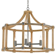 Currey & Company Lighting Highbank Chandelier 9000-0203 Wrought Iron/Wood