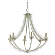 Currey & Company Lighting Saltwater Chandelier 9000-0209 Wrought Iron/Glass