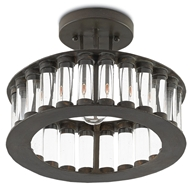 Currey & Company Lighting Elixir Semi-Flush Mount 9999-0028 Wrought Iron/Optic Crystal