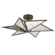 Currey & Company Lighting Stargazer Semi-Flush Mount 9999-0031 Wrought Iron/Glass