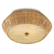 Currey & Company Lighting Antibes Flush Mount 9999-0033 Rattan/Art Glass