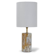 Regina Andrew Lighting Jade & Brass Mini Cylinder Lamp