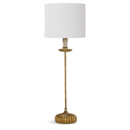 Regina Andrew Lighting Clove Stem Buffet Table Lamp With Natural Linen Shade - Antique Gold Leaf