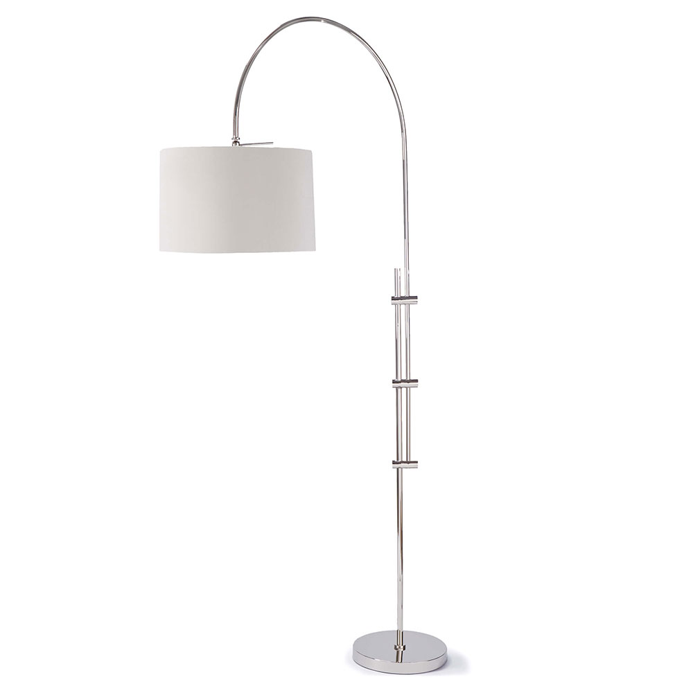 Regina Andrew Design Lighting Arc Floor Lamp With Fabric Shade   Polished  Nickel