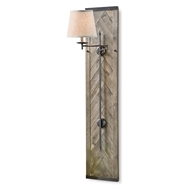 Regina Andrew Lighting Herringbone Wood Panel Swing Arm Sconce