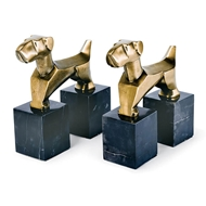 Regina Andrew Home Doggie Bookends Pair - Brass