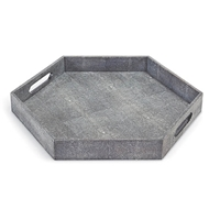 Regina Andrew Home Shagreen Hex Tray - Charcoal