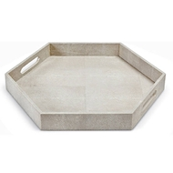 Regina Andrew Home Shagreen Hex Tray - Ivory Grey