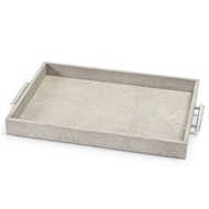 Regina Andrew Home Shagreen Rectangle Tray - Ivory Grey