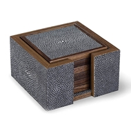Regina Andrew Home Shagreen Coaster Set - Charcoal Grey