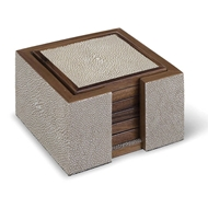 Regina Andrew Home Shagreen Coaster Set - Ivory Grey