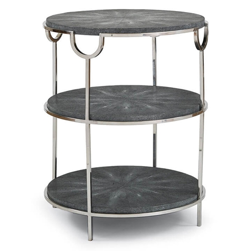 Regina Andrew Home Vogue Shagreen Side Table - Charcoal & Polished Nickel