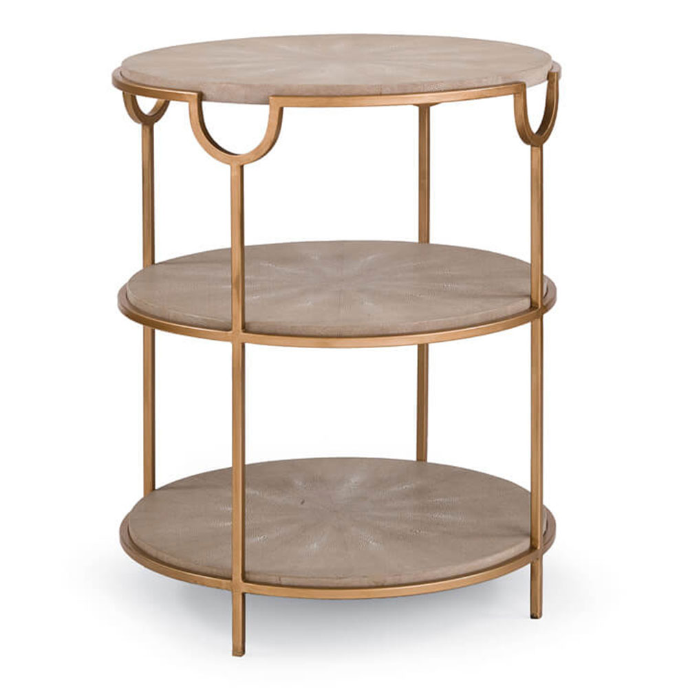 Regina Andrew Home Vogue Shagreen Side Table - Ivory Grey & Brass