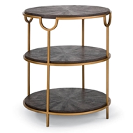 Regina Andrew Home Vogue Shagreen Side Table - Vintage Brown Snake & Brass