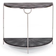 Regina Andrew Home Vogue Shagreen Demilune Console - Charcoal & Polished Nickel