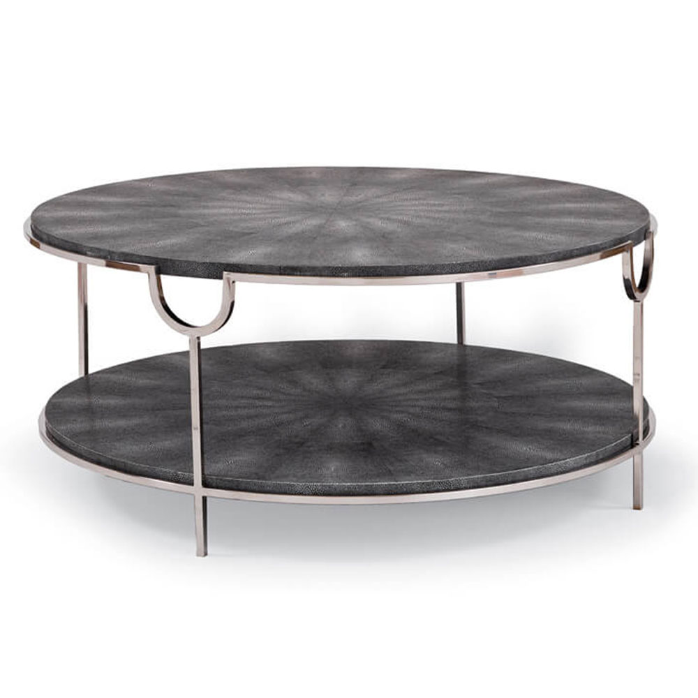 Regina Andrew Home Vogue Shagreen Cocktail Table - Charcoal & Polished Nickel
