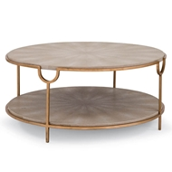 Regina Andrew Home Vogue Shagreen Cocktail Table - Ivory Grey & Brass