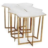 Regina Andrew Home Puzzle Table Set - Gold Leaf & Travertine