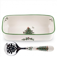 Spode Christmas Tree Cranberry Server with Slotted Spoon 1556331