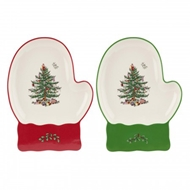 Spode Christmas Tree S/2 Mitten Dishes 1579255