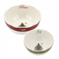 Spode Christmas Tree S/2 Vintage Scalloped Bowls 1603691