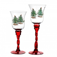 Spode Christmas Tree Fluted Footed Candle Holders S/2 (Red) 1607378