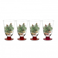 Spode Christmas Tree Footed All Purpose Glasses S/4 (Red) 1607880