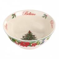 "Spode Christmas Tree Revere Candy Bowl ""Believe, Joy, Peace, Love"" 1612532"