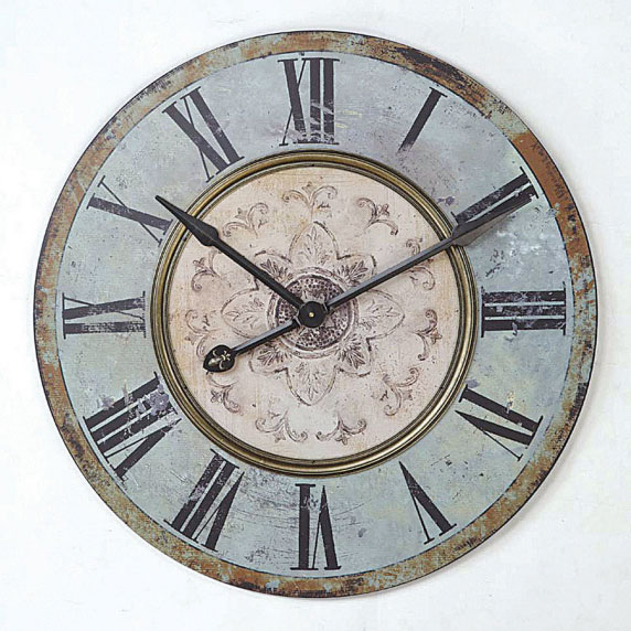 Creative Co Op Round Vintage Blue Wall Clock