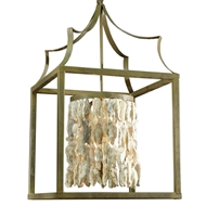 Lowcountry Originals Box Lantern with Shell Cylinder Chandelier