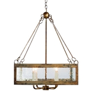Lowcountry Originals Seeded Glass Square Chandelier
