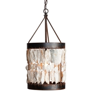 Lowcountry Originals Shell Drum With Bottom Band Chandelier