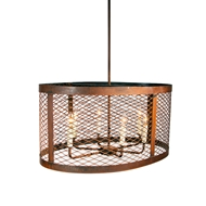 Lowcountry Originals Oval Wire Mesh Drum Chandelier