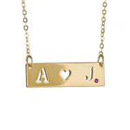 MS500HR Small Initials Heart Cut Out with Ruby on Chain Pendant Necklace Gold