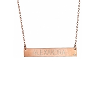 MG5002 .01 Ct Diamond Engravable Name Bar on Chain 14k Pendant Necklace Rose Gold