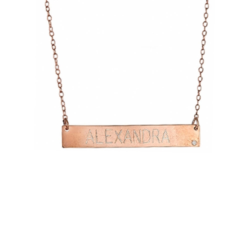 Maya j jewelry 14k 01 ct diamond engravable name bar pendant mg5002 01 ct diamond engravable name bar on chain 14k pendant necklace rose gold mozeypictures