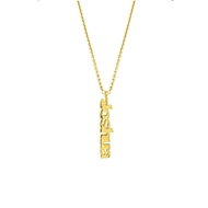 MG5003 Vertical Block Name on Chain 14k Pendant Necklace Gold