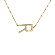 MG5005 Side Letter on Chain 14k Pendant Necklace Gold