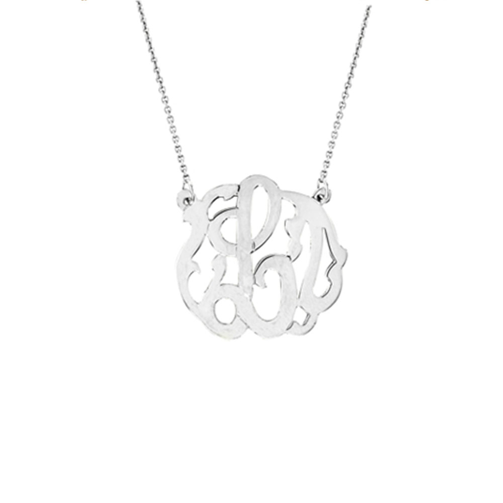 Maya j jewelry silver small one letter monogram pendant necklace ms56 small one letter monogram with chain pendant necklace silver aloadofball Image collections