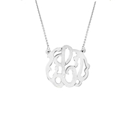 MS56 Small One Letter Monogram with Chain Pendant Necklace Silver