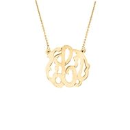 "MG56 Small One Letter Monogram with Chain (1/2"") 14k Pendant Necklace Gold"