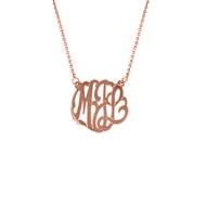 "MG561 Small Monogram with Chain (1/2"") 14k Pendant Necklace Rose Gold"